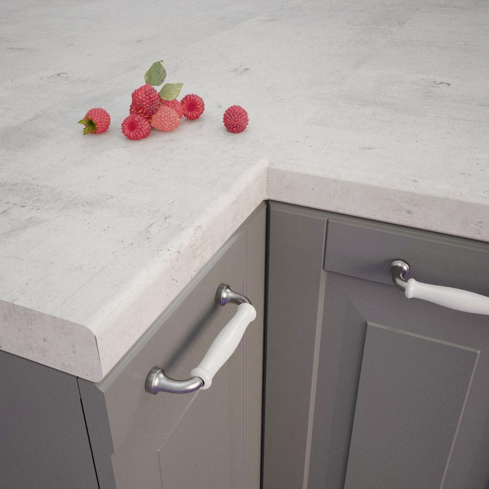 Concrete White (BN230 Si) Bullnosed worktop